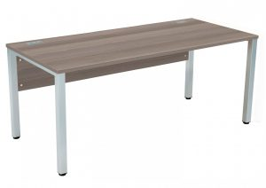 Fraction 3 Rectangular 180 Desk - Grey Oak with Silver Frame