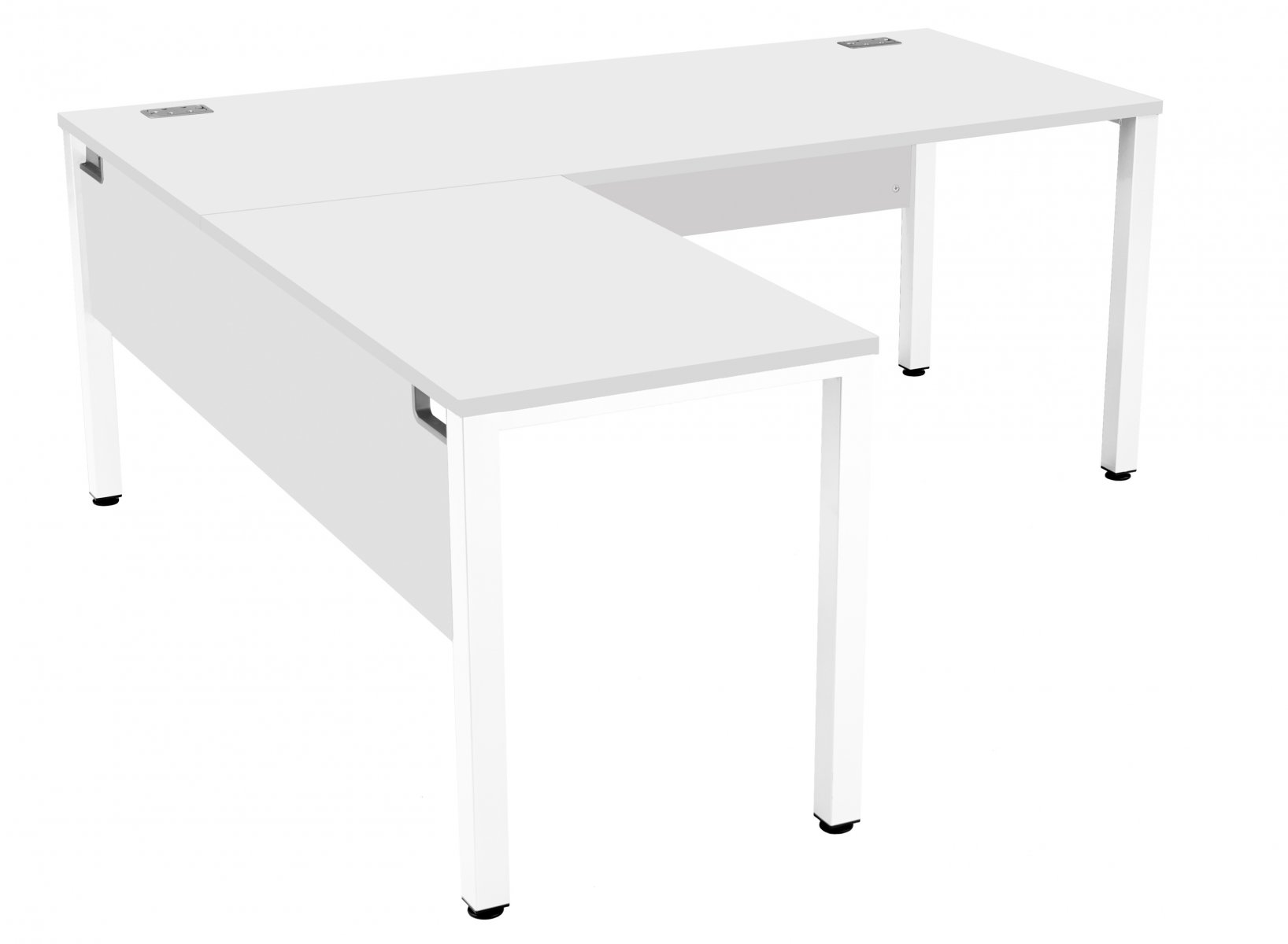 Fraction 3 Left Hand 180 Return Workstation - White with White Frame