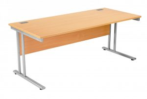 Fraction 2 Rectangular 180 Desk - Beech with Silver Frame
