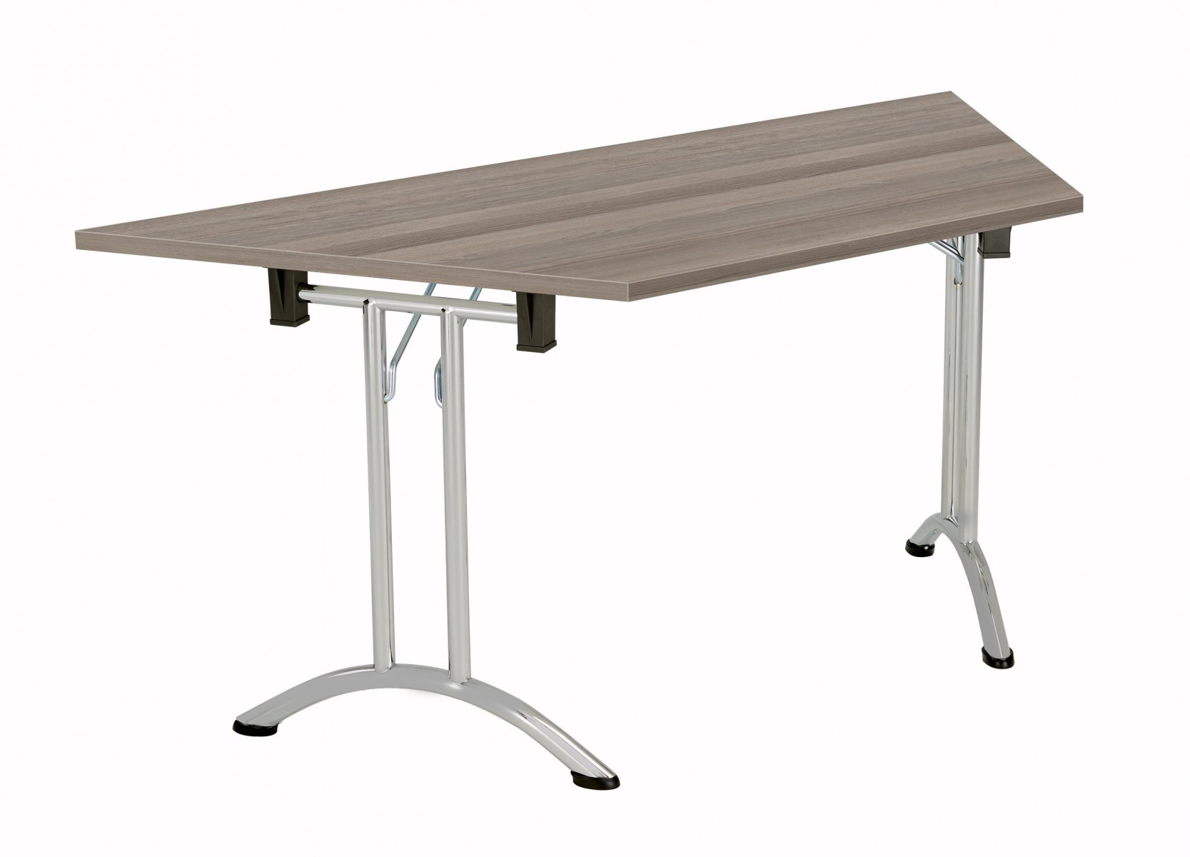 Union Trapezoidal 140 Folding Meeting Table - Grey Oak with Silver Frame
