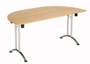 Union D-End Folding 140 Meeting Table - Beech with Chrome Frame