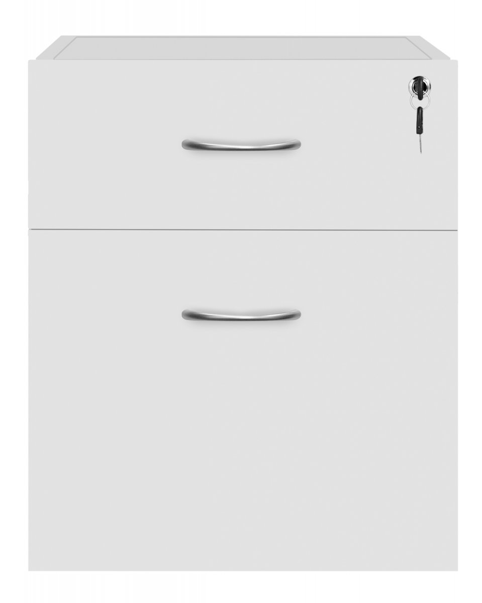 Fraction Plus 2 Drawer Fixed Pedestal - White