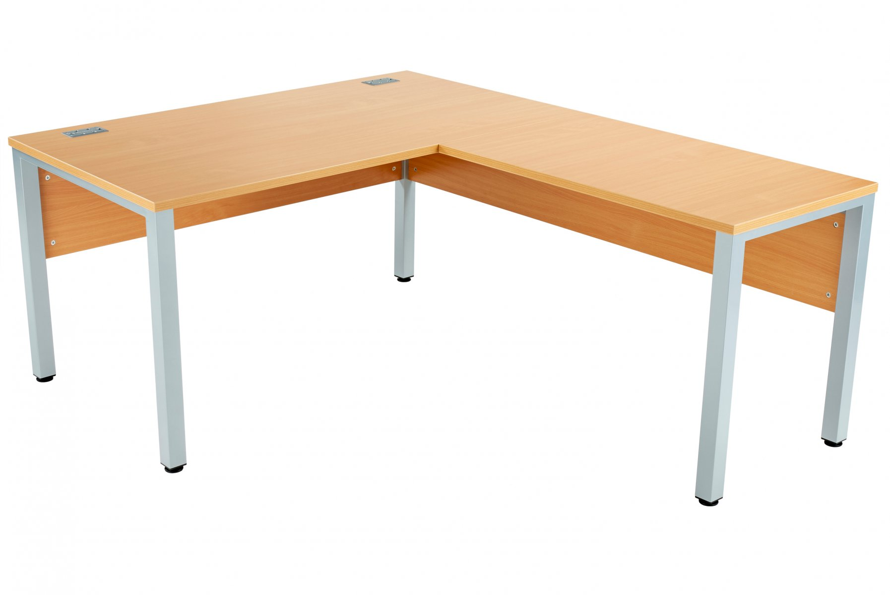 Fraction 3 Right Hand 160 Return Workstation - Beech with Silver Frame