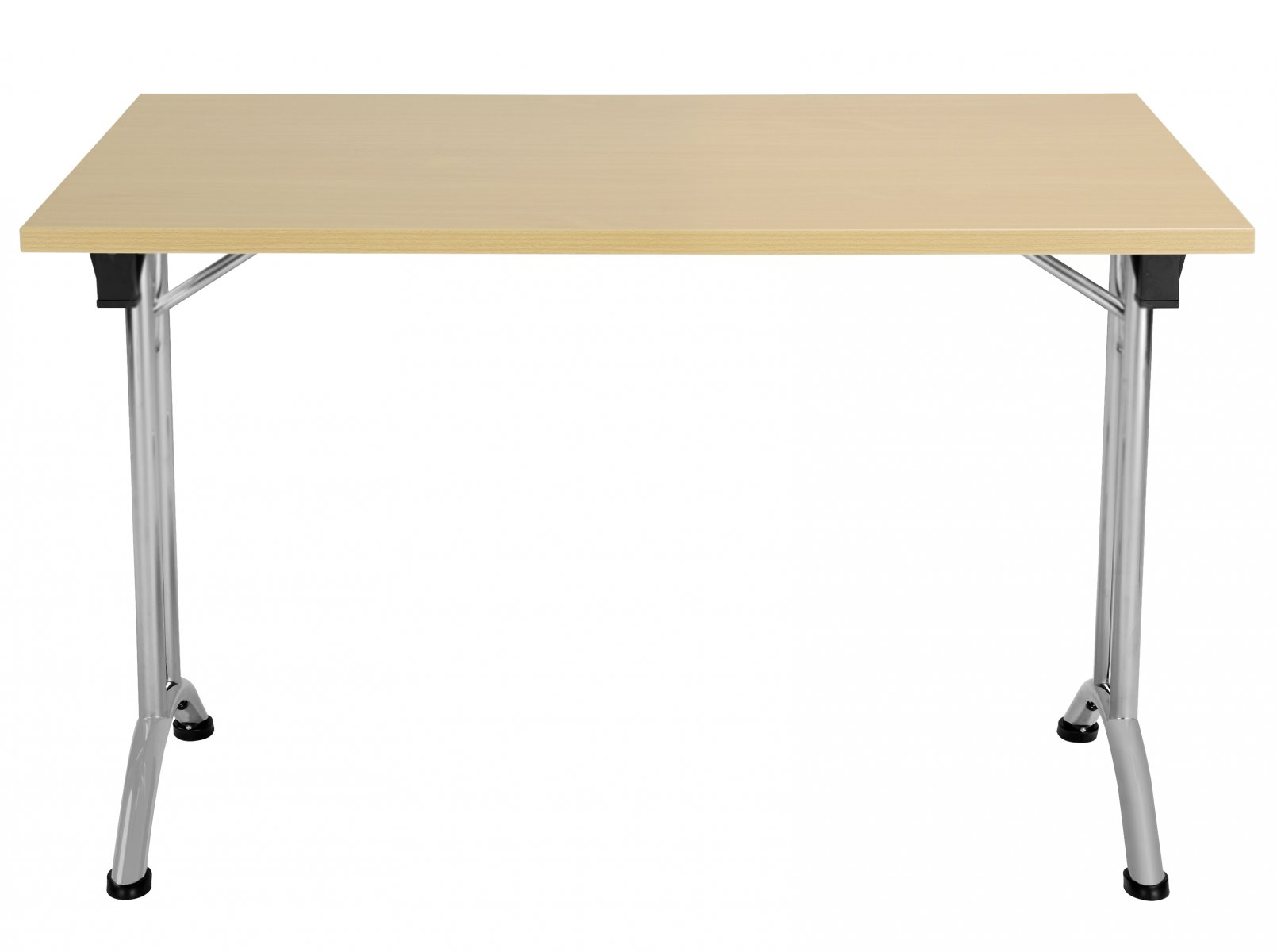 Union Rectangular 120 x 70 Folding Meeting Table - Nova Oak with Silver Frame