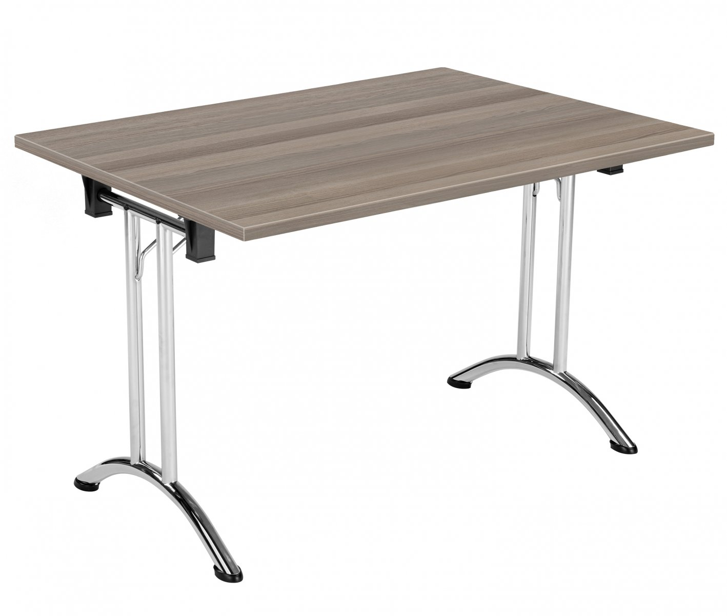Union Rectangular 120 x 80 Folding Meeting Table - Grey Oak with Chrome Frame
