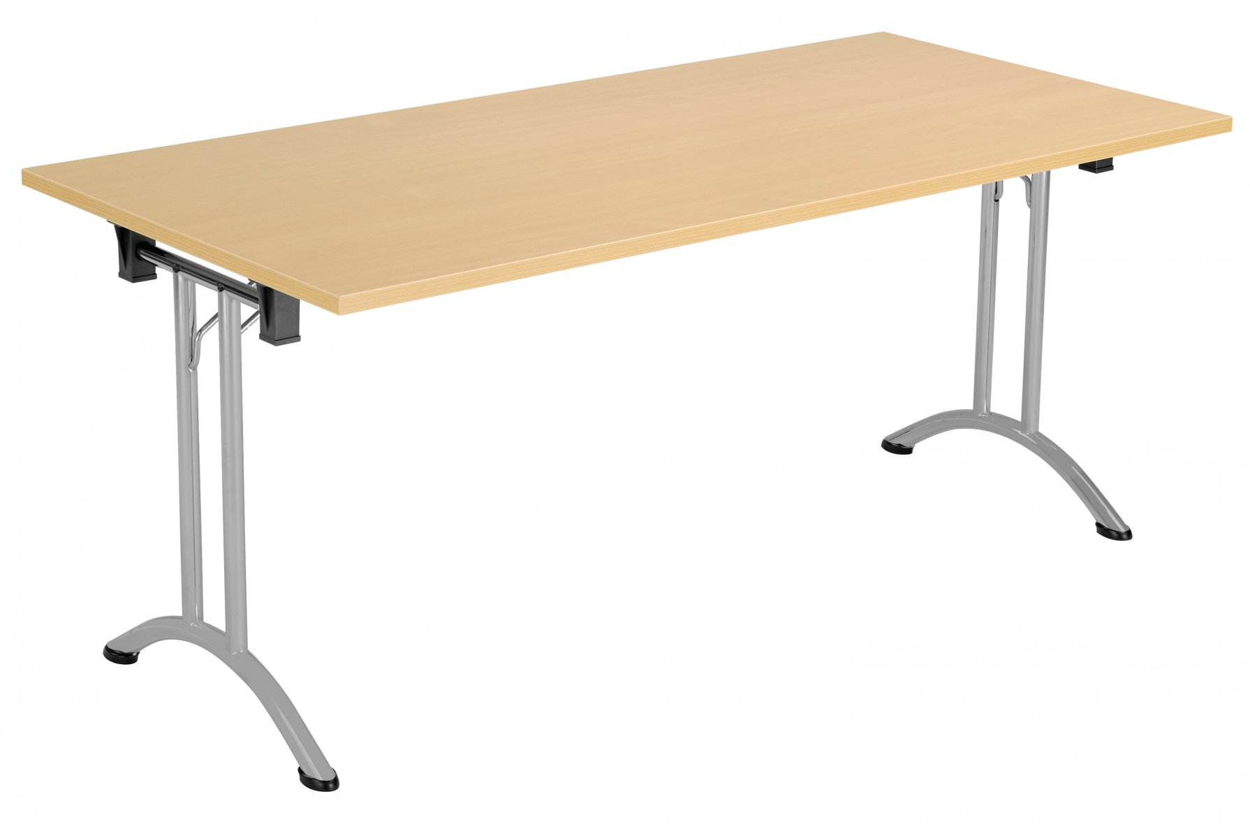 Union Rectangular 160 x 80 Folding Meeting Table - Nova Oak with Silver Frame