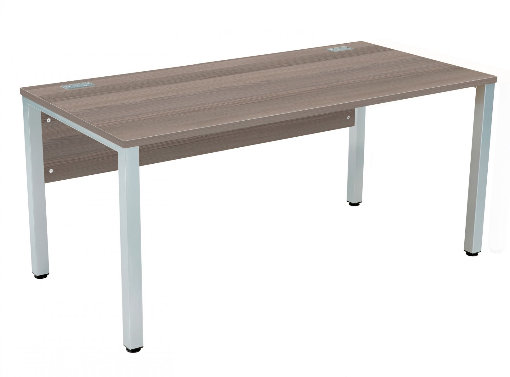 Fraction 3 Rectangular 160 Desk - Grey Oak with Silver Frame