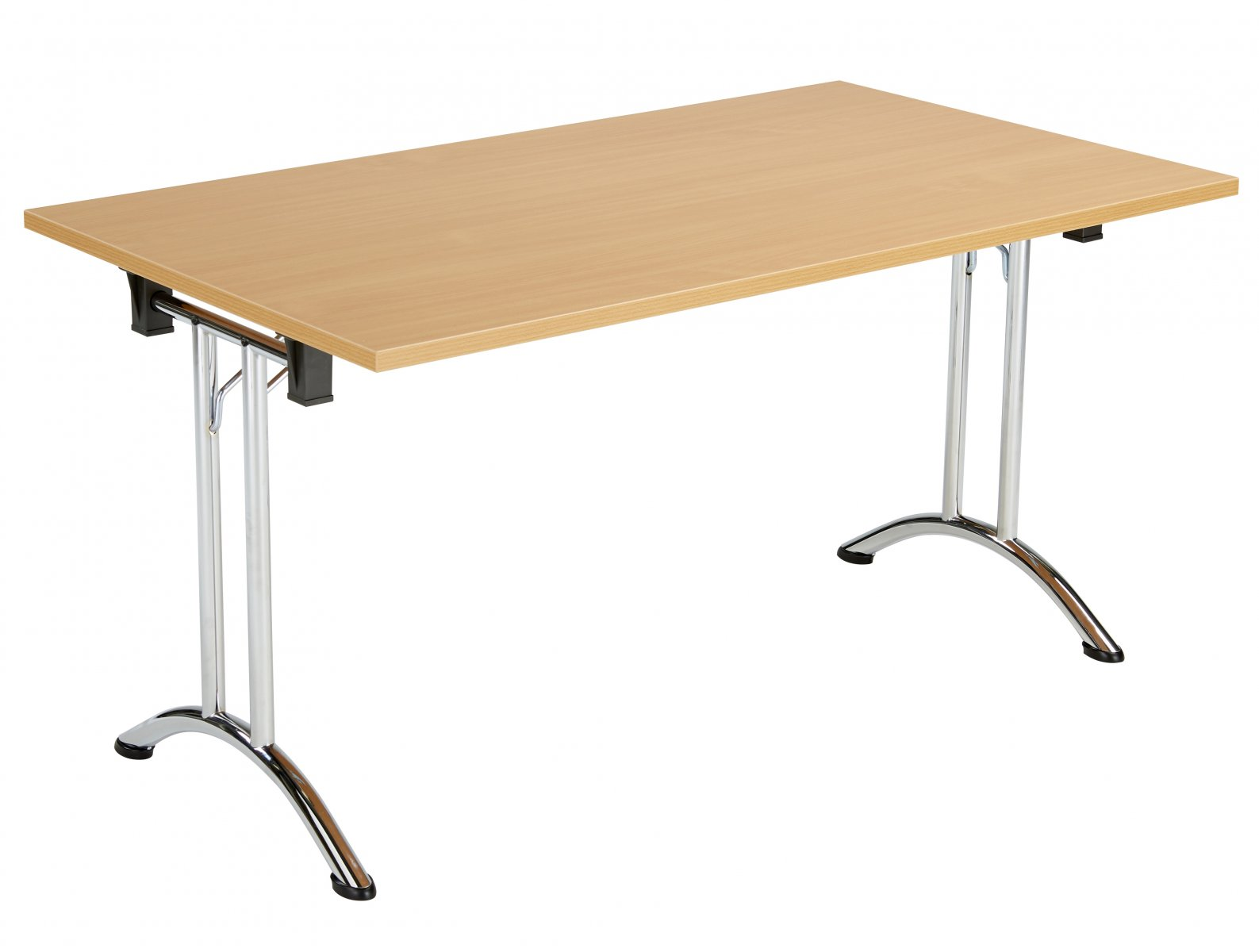 Union Rectangular 140 x 70 Folding Meeting Table - Beech with Chrome Frame