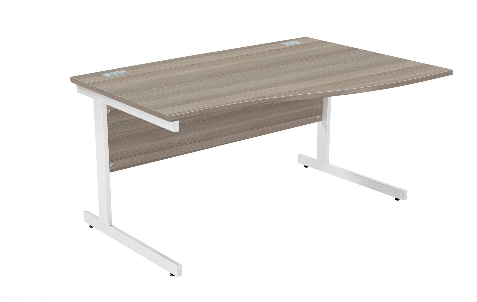 Fraction Plus Right Hand 140 Wave Workstation - Grey Oak with Silver Frame