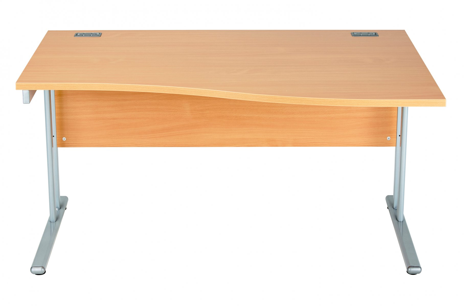 Fraction 2 Right Hand 140 Wave Workstation - Beech with Silver Frame