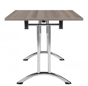 Union Rectangular 120 x 70 Folding Meeting Table - Grey Oak with Chrome Frame