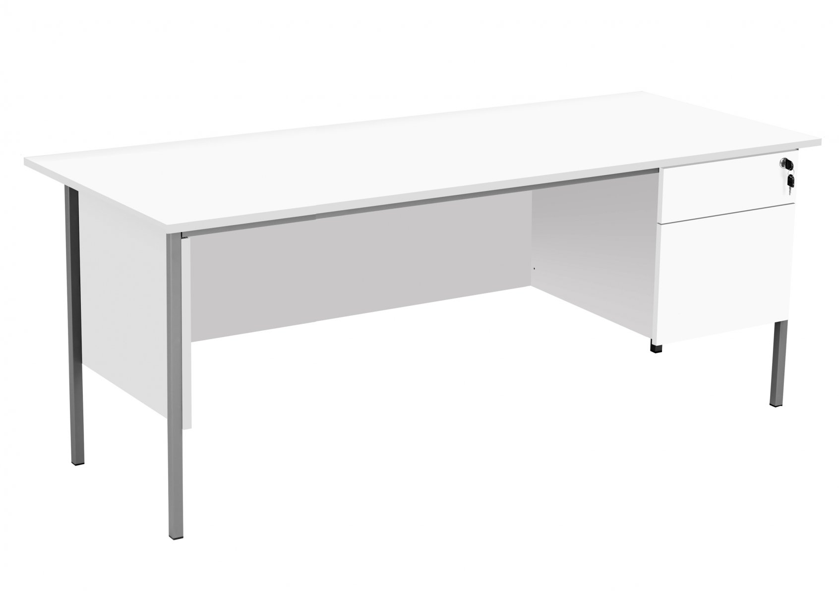 Eco 18 Rectangular 180 Desk with Single 2 Drawer Pedestal - White