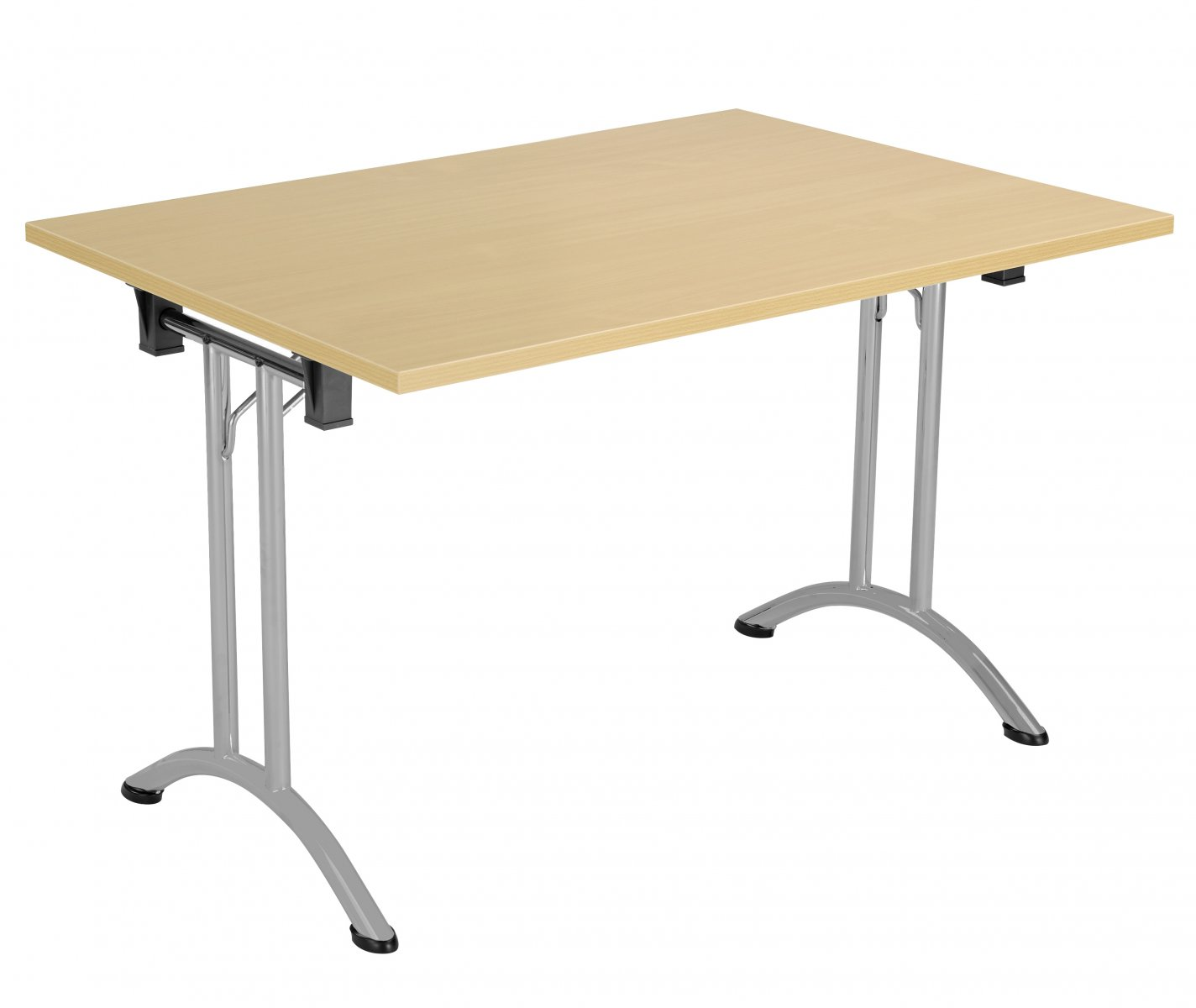 Union Rectangular 120 x 80 Folding Meeting Table - Nova Oak with Silver Frame