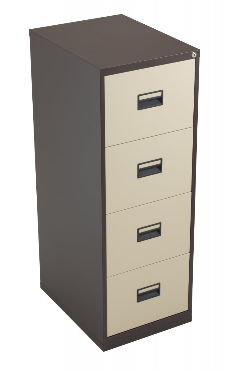 Talos Steel Storage 4 Drawer Filing Cabinet - Coffee Cream