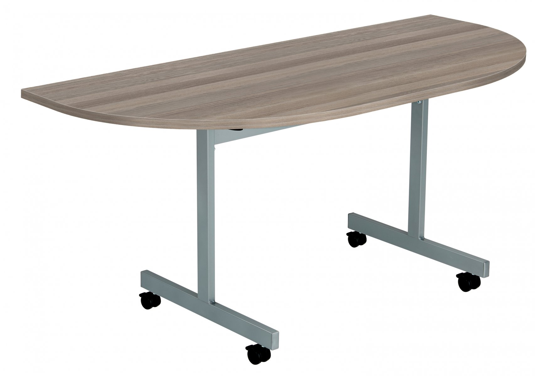 One Eighty D-End 160 x 80 Flip Top Meeting Table - Grey Oak