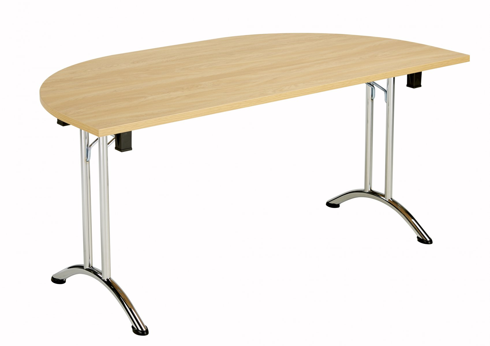 Union D-End Folding 140 Meeting Table - Nova Oak with Chrome Frame