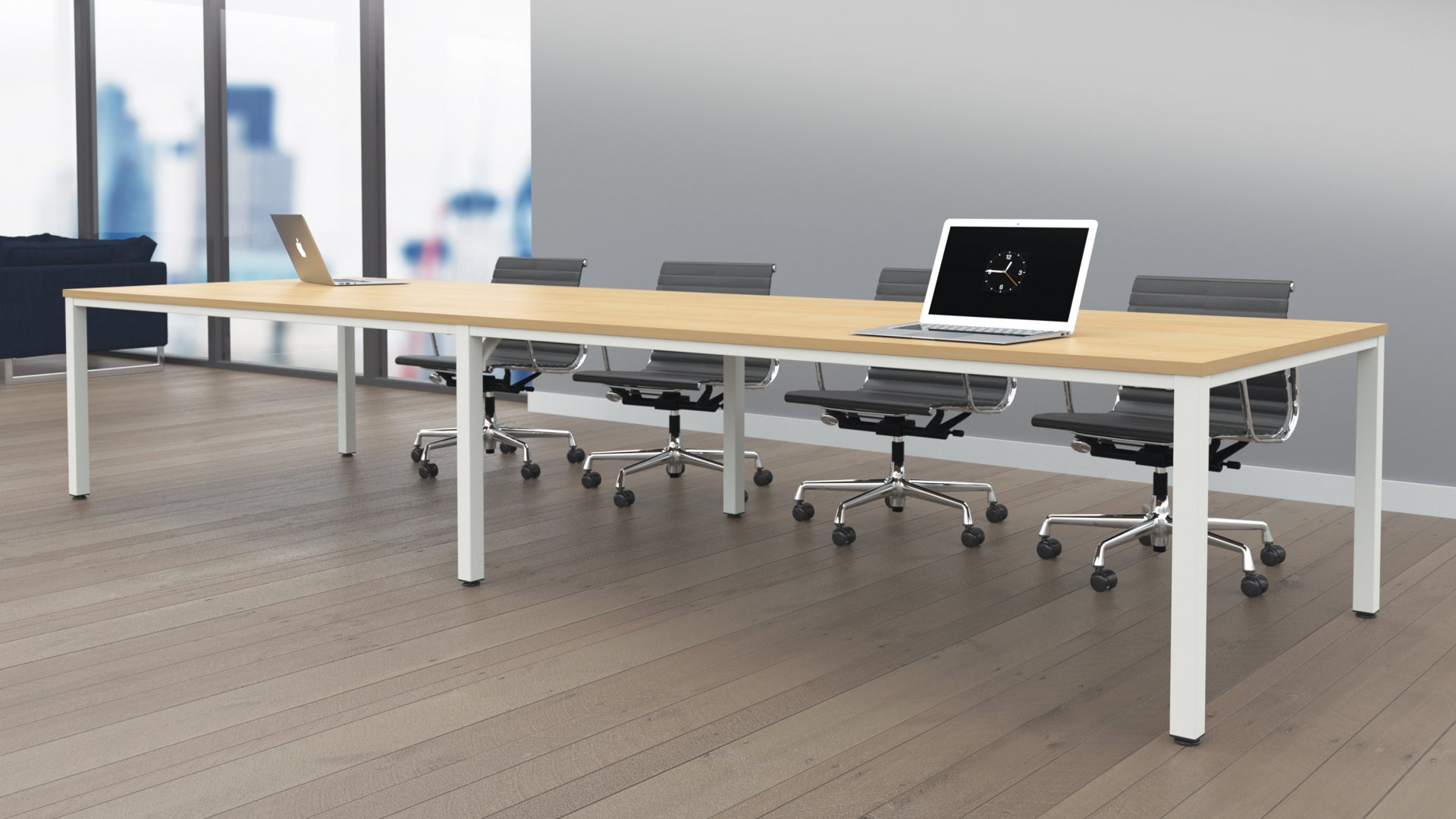 Fraction Infinity 180 x 80 Meeting Table - Beech with White Legs