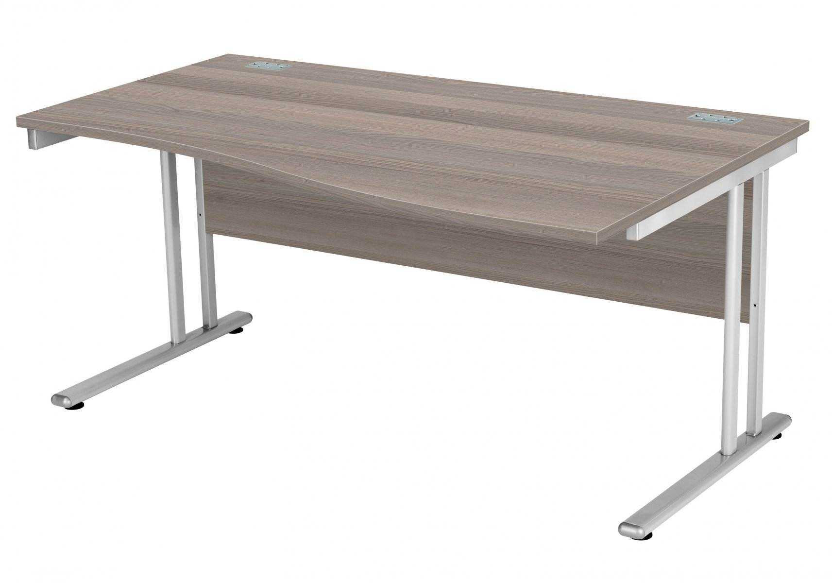Fraction 2 Right Hand 160 Wave Workstation - Grey Oak with Silver Frame
