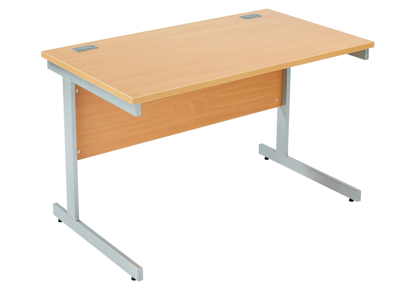 Fraction Plus Rectangular 120 Desk - Beech with Silver Frame