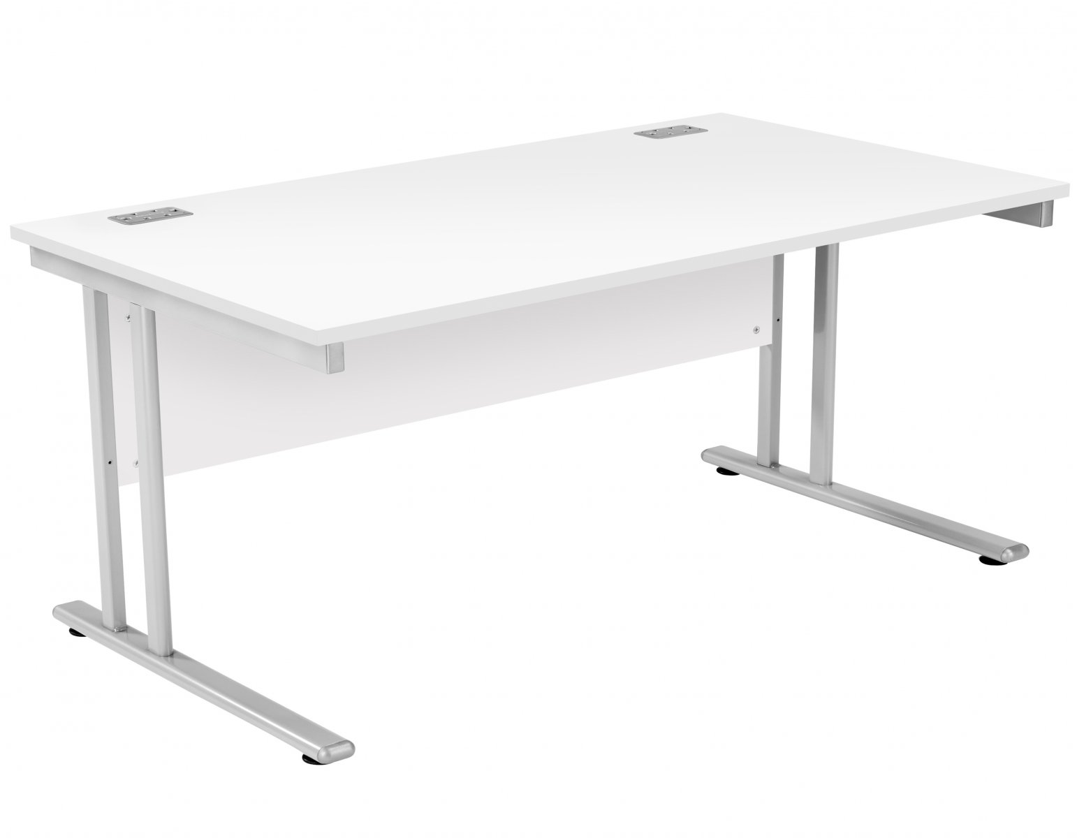 Fraction 2 Rectangular 160 Desk - White with Silver Frame