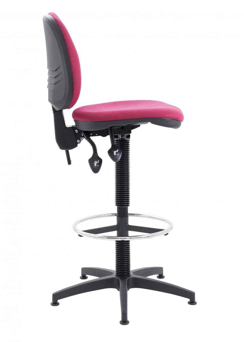 Factory Mid Back Static Draughting Chair - Claret