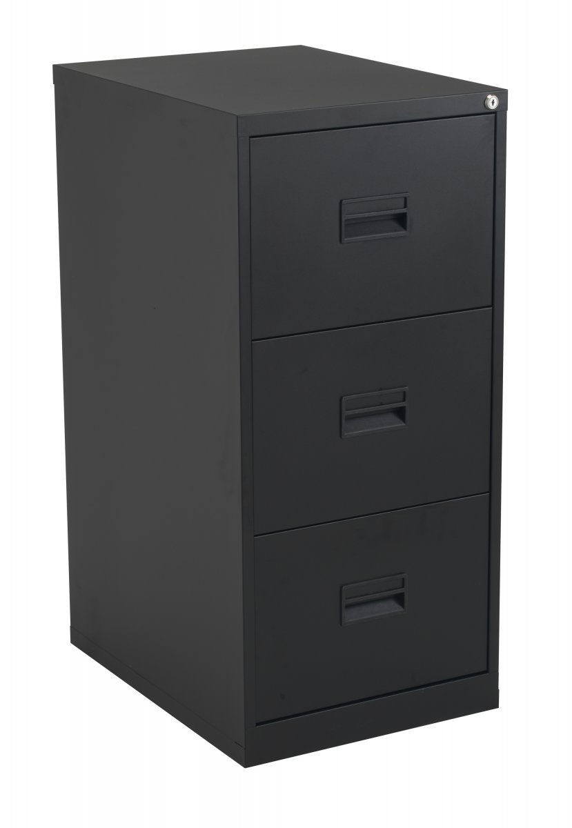 Talos Steel Storage 3 Drawer Filing Cabinet - Black