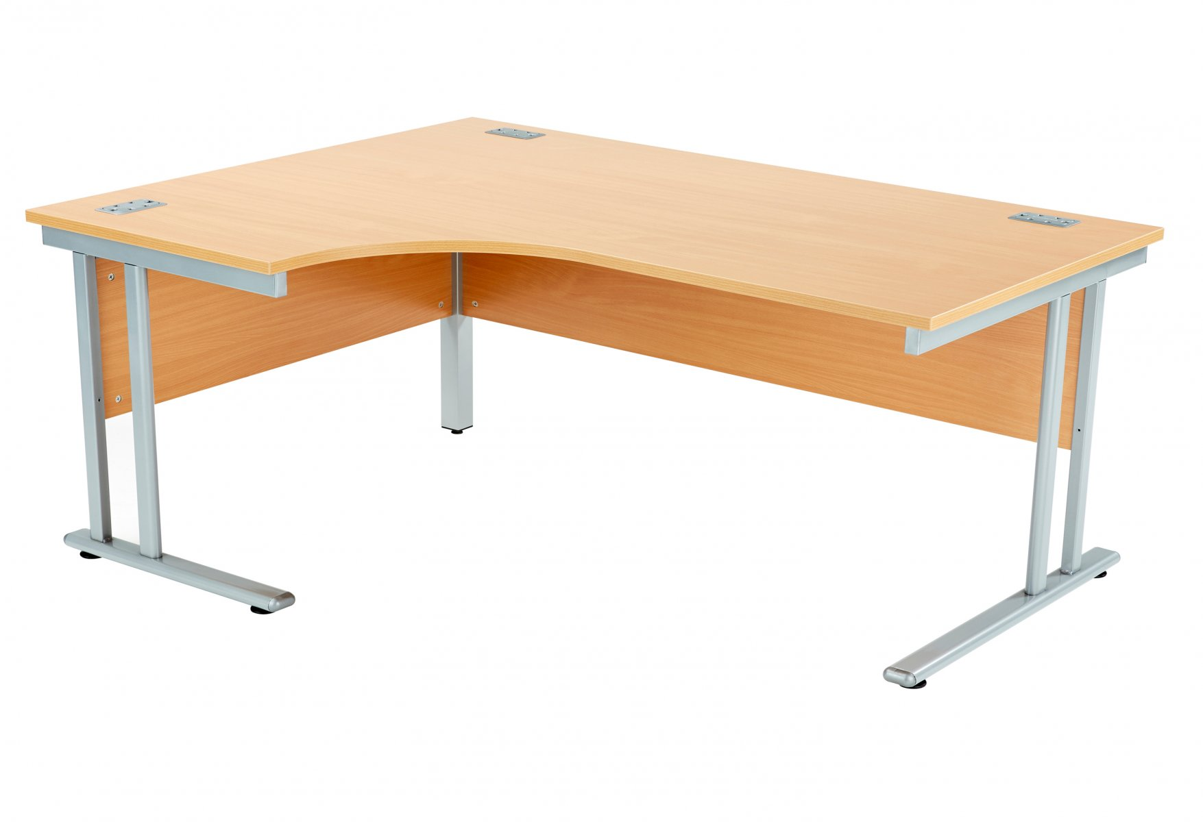Fraction 2 Left Hand 180 Core Workstation - Beech with Silver Frame