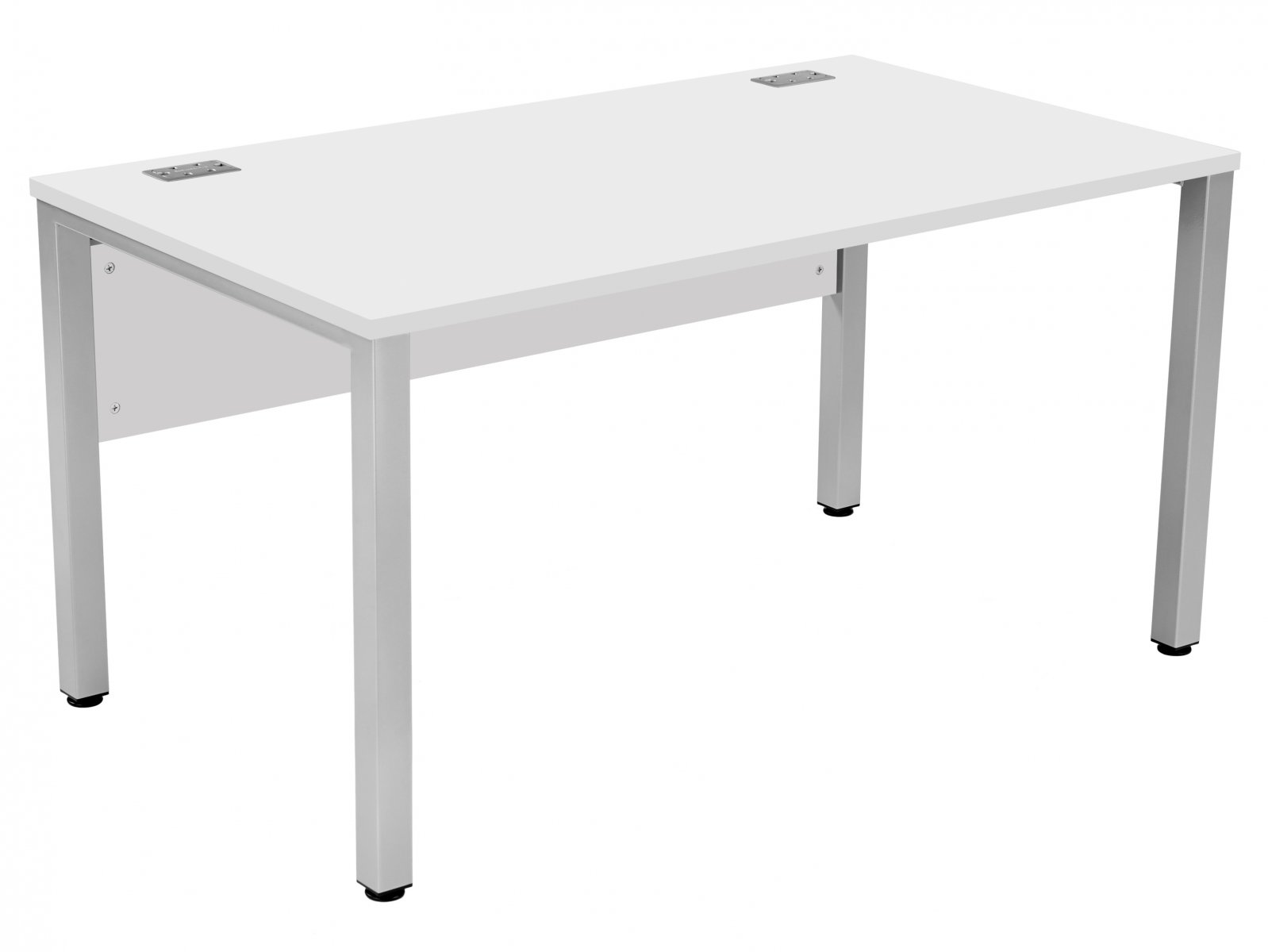 Fraction 3 Rectangular 140 Desk - White with Silver Frame
