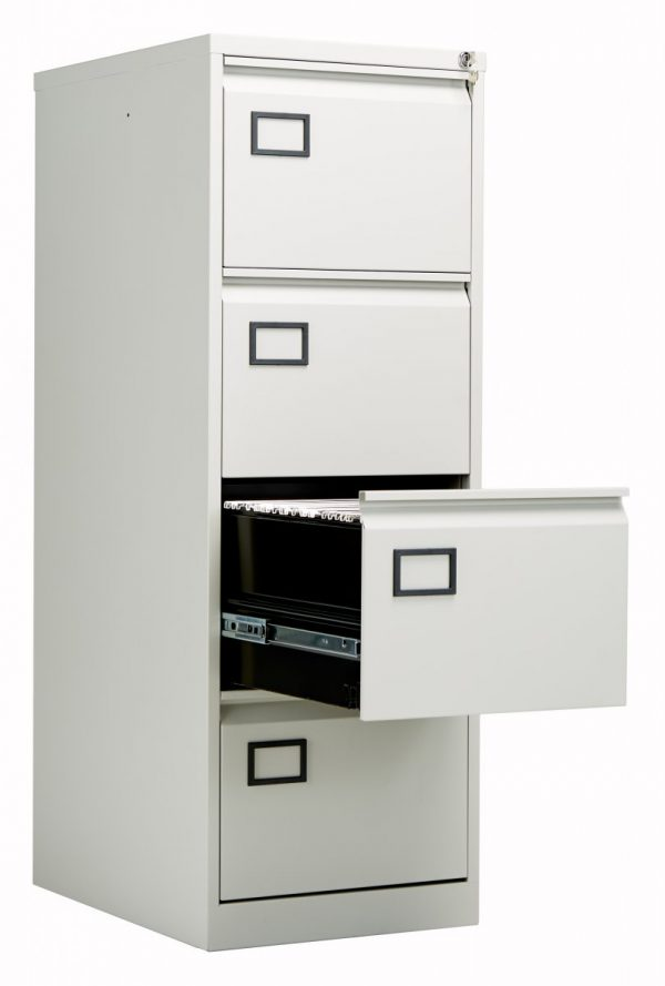 Bisley 4 Drawer Contract Steel Filing Cabinet - Goose Grey