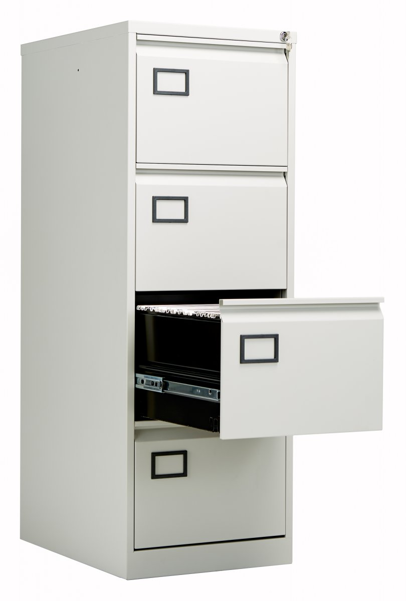 low priced e53b3 bf5b9 Bisley 4 Drawer Contract Steel Filing Cabinet - Goose Grey