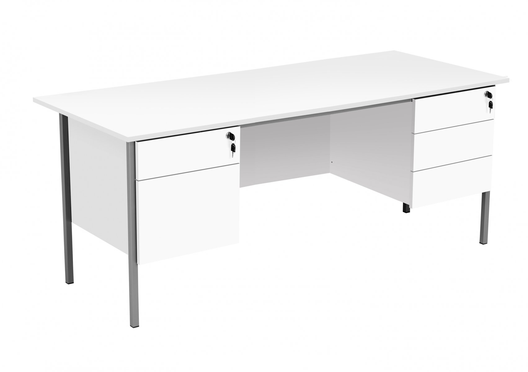 Eco 18 Rectangular 180 Desk with Double 2 and 3 Drawer Pedestals - White