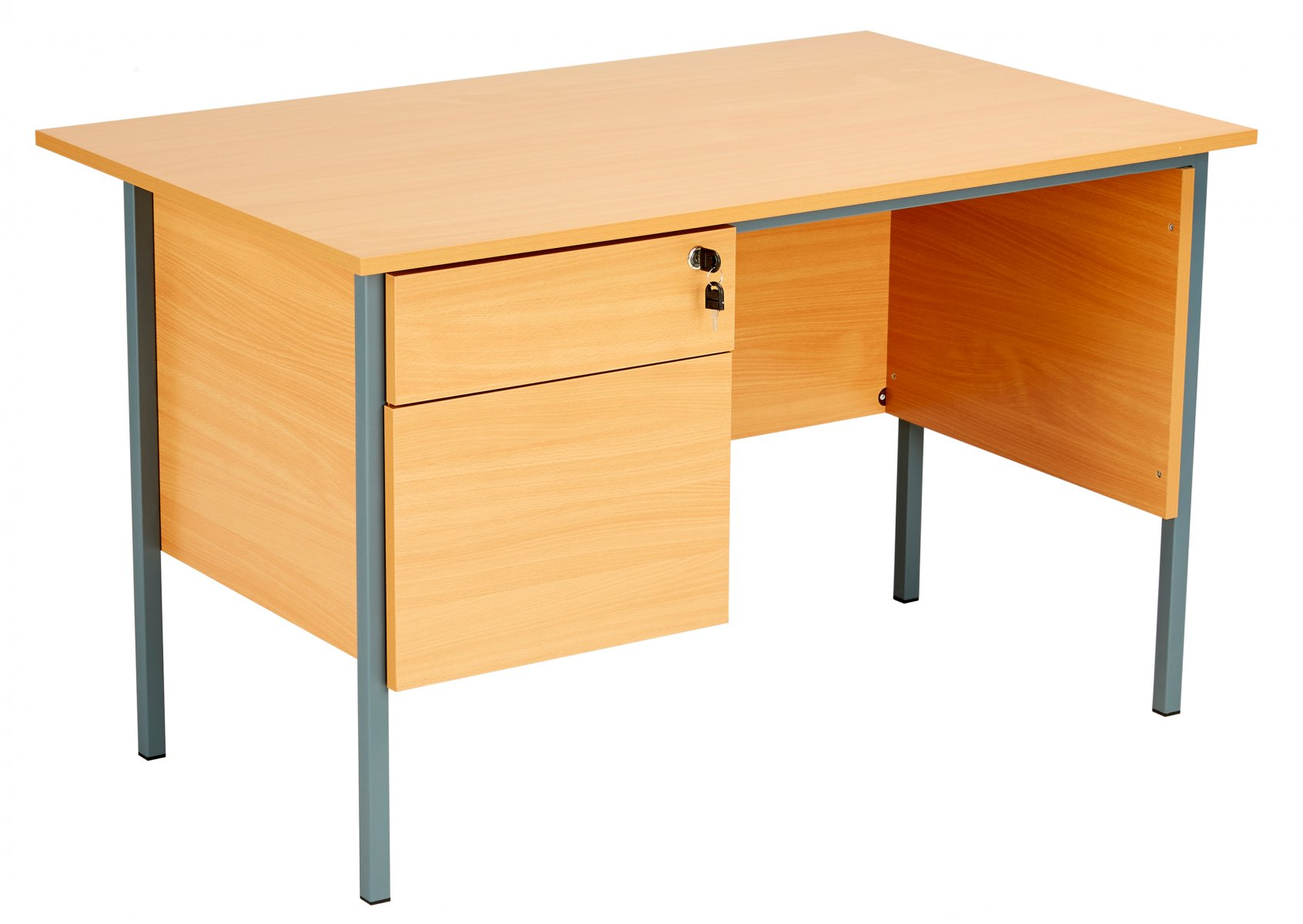 Eco 18 Rectangular 120 Desk with Single 2 Drawer Pedestal - Beech