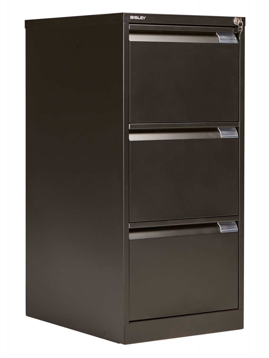 Bisley 3 Drawer Classic Steel Filing Cabinet - Black