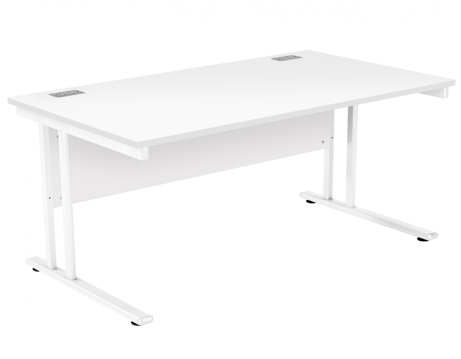 Fraction 2 Rectangular 160 Desk - White with White Frame