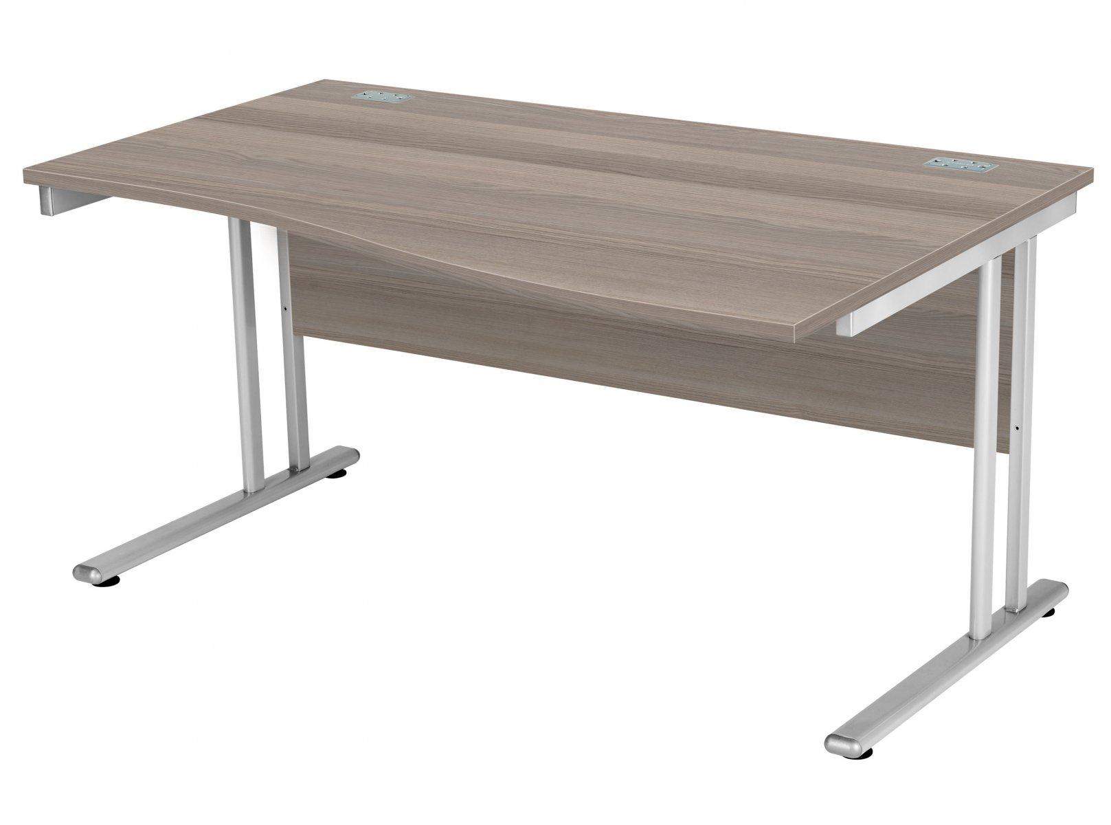 Fraction 2 Right Hand 140 Wave Workstation - Grey Oak with Silver Frame