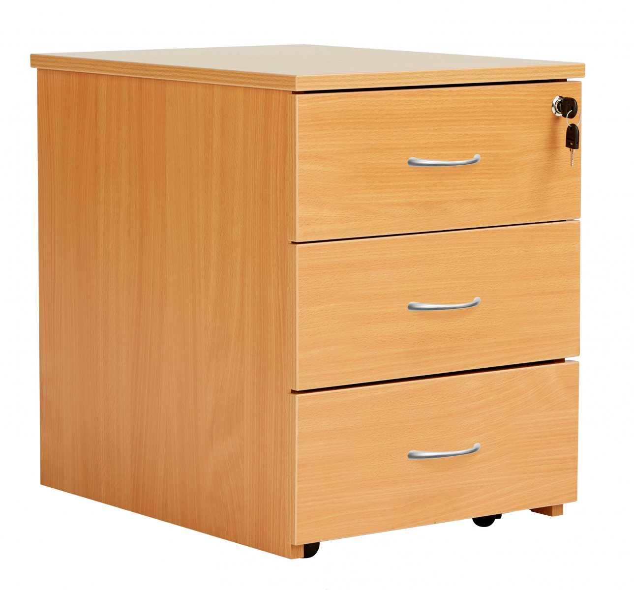 Fraction Plus 3 Drawer Low Mobile Pedestal - Beech