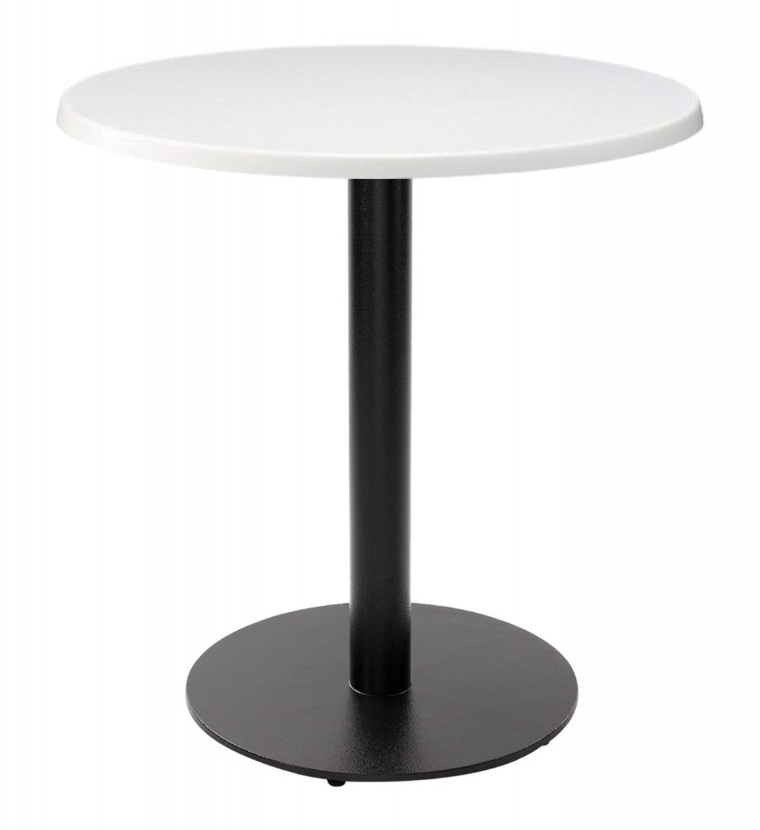 Forza Round Dining Table - White With Black Column