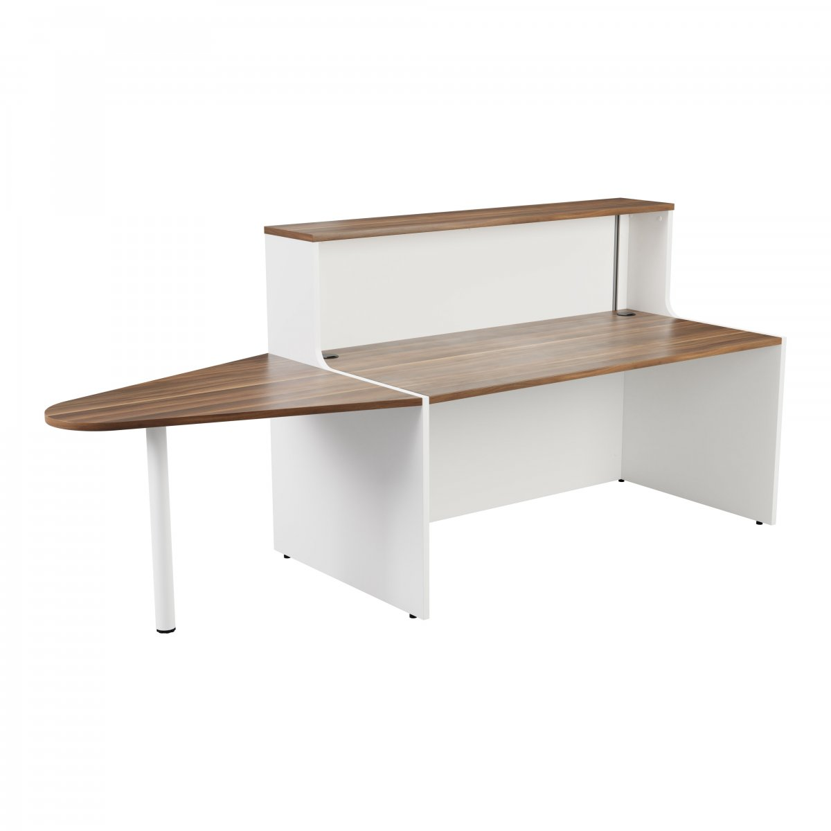 Reception Unit 1400 With Extension - White Sides With Dark Walnut Top