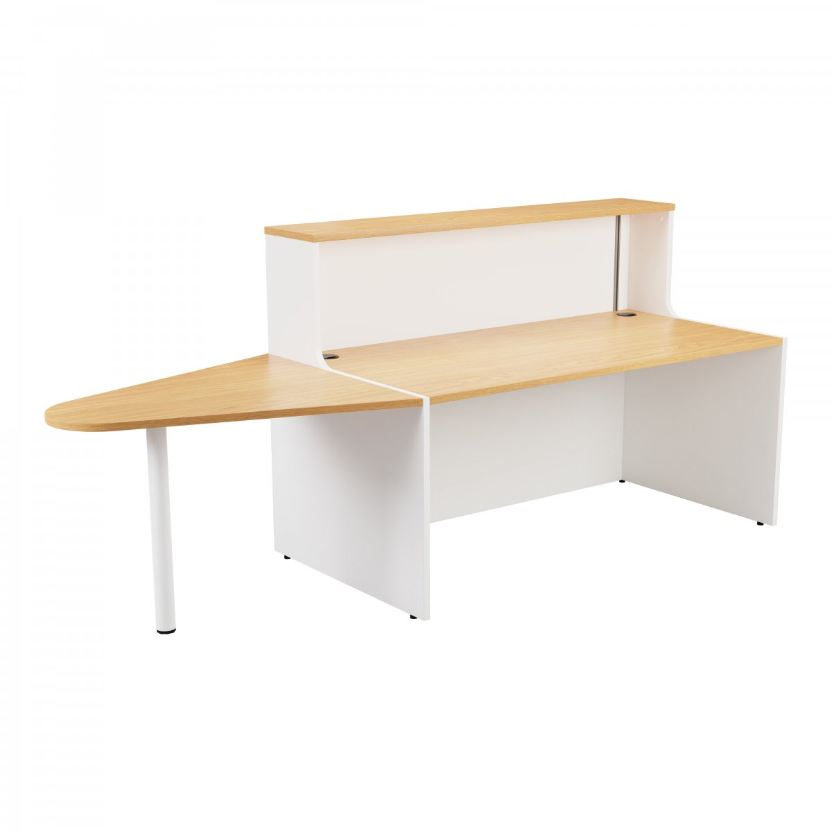 Reception Unit 1400 With Extension - White Sides With Nova Oak Top