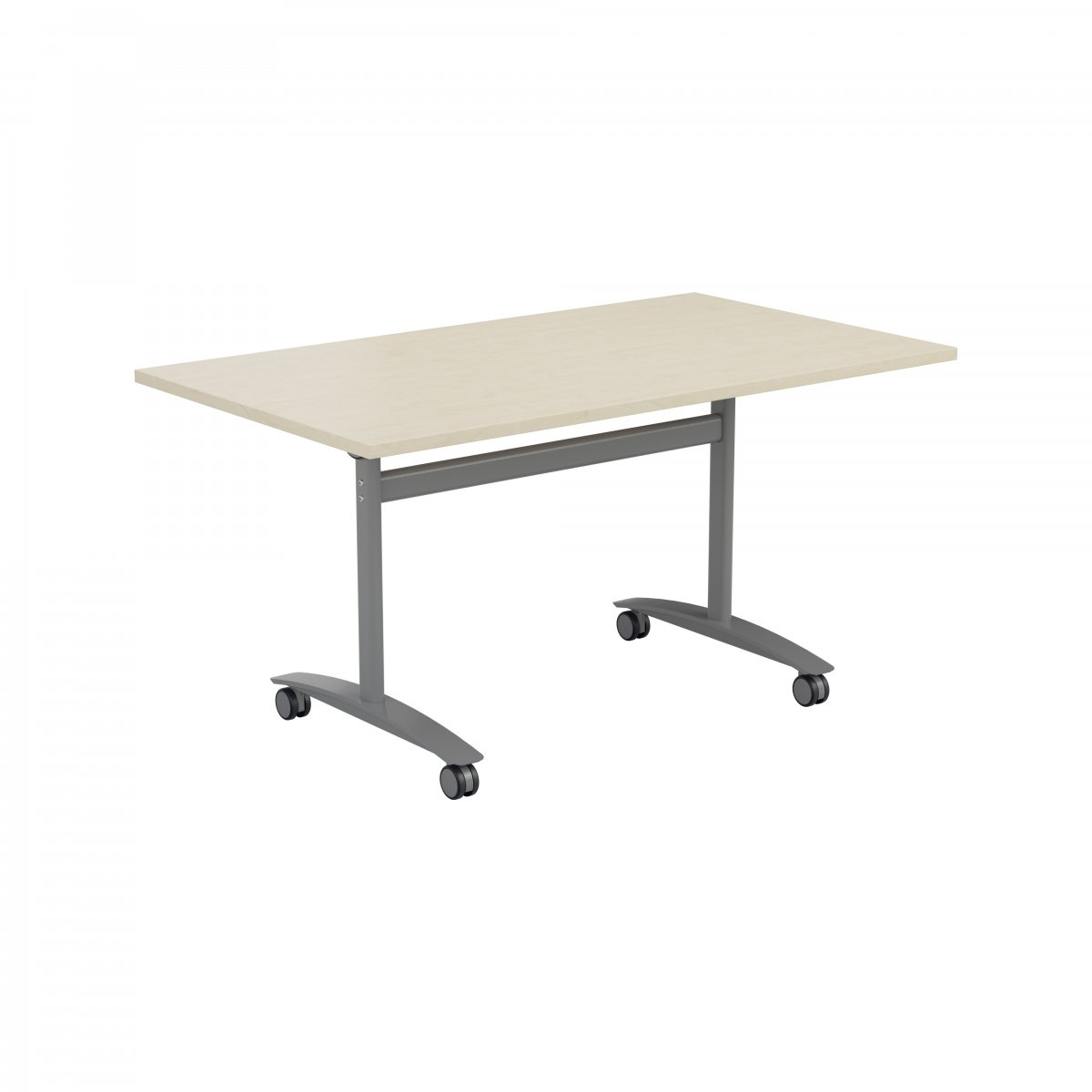 One Tilting Table 1600 X 800 Silver Legs Maple Top