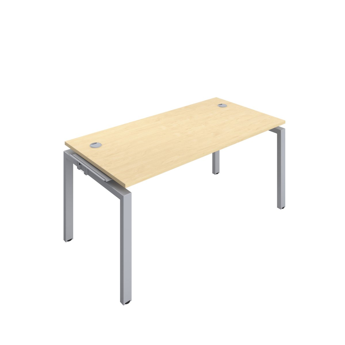 Telescopic 1 Person Bench Extension 1600 X 800 Cable Port Maple-Silver