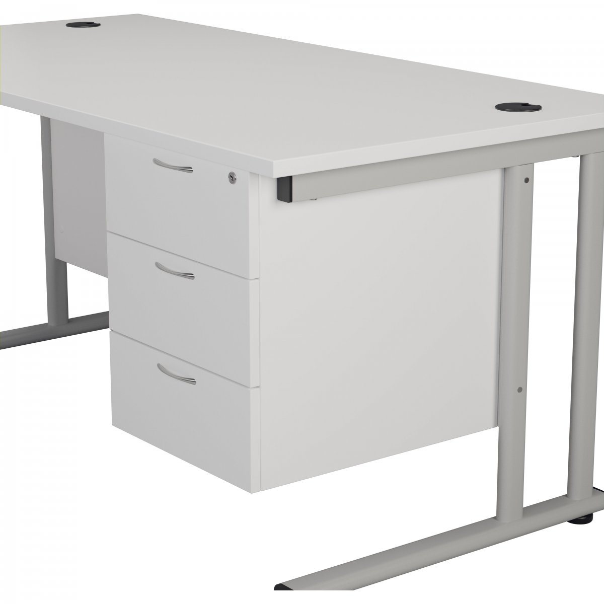 655 Fixed Pedestal 3 Drawers White