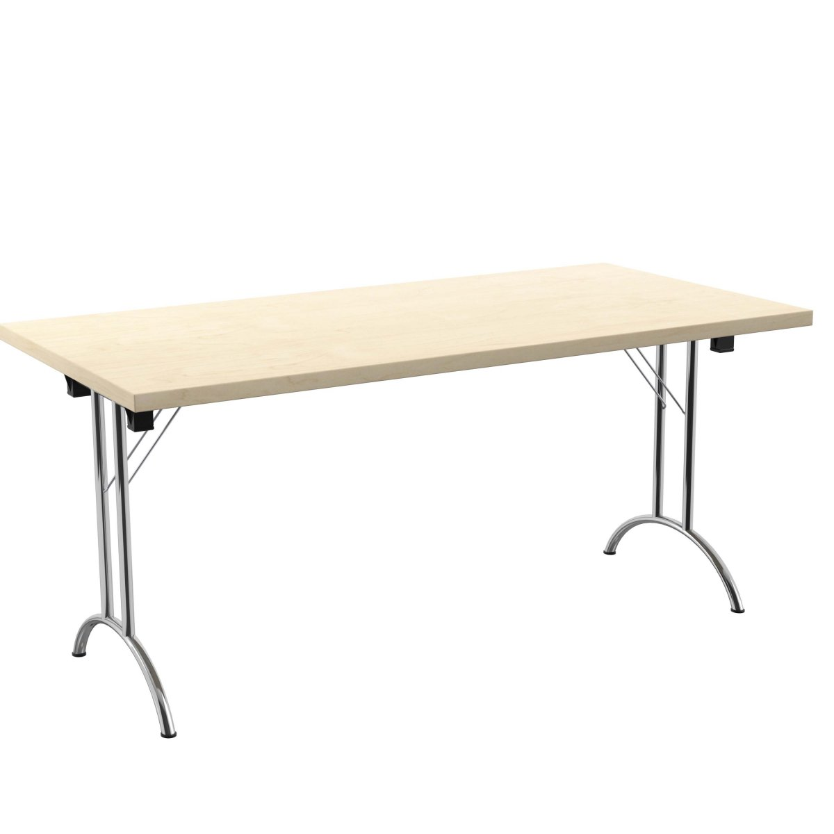 One Union Folding Table 1600 X 800 Silver Frame Maple Rectangular Top